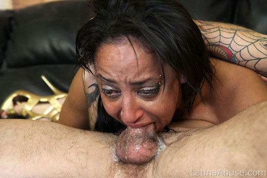 Woman who nasty deep throat face fucking hot cock